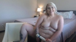 Present tattooed BBW blonde Miss Kay with a sexy voice