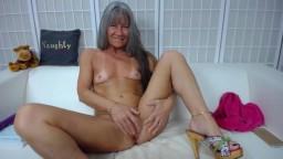 Naughty granny Leilani with dirty talk fucks creamy pussy