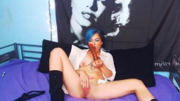 Training sissy blue haired Gina Dae in sexy black boots