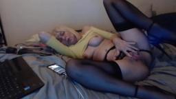 Naughty talking seductive blond MILF fucks big wet pussy