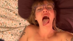 Teasing real nympho Sadie with little tits and glasses