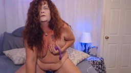 Sassy curly red granny Sage gets loud squirting orgasms