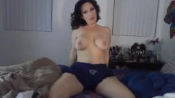 Flirty sassy mom Jessie with massive boobs riding big toy