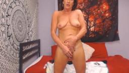 Adorable brunette MILF Veronica spanked her pink snatch