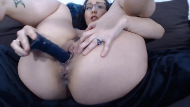 Beautiful brunette girl Sage is masturbating just for you