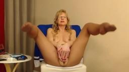 Naughty granny Brandi with pantyhose domination