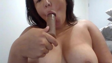 Horny young wife Armani who likes to play online with toys