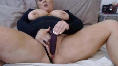 Sexy busty blonde Savannah gets cums from black dildo