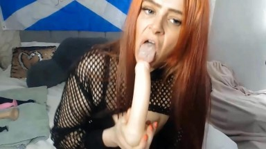 Horny British squirter Abby fucks her holes with two dildos