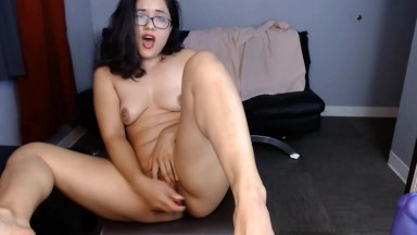 Dirty talking brunette with glasses wants you to fuck her