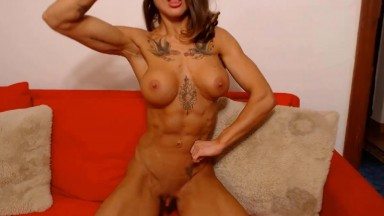 Busty fitness goddess cums from finger fucking herself