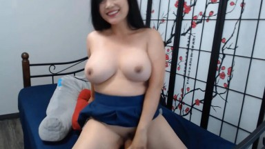 Asian moon glides a toy that's too big for her tight slit