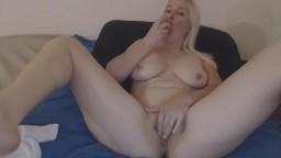 Friendly blond exhibitionist Suzy enjoying being masturbating