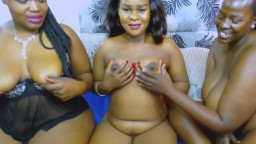Three naughty African girls with huge black natural tits