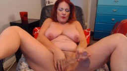 Red-head bad mature girl with hairy pussy fingering ass