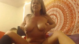 Pierced mother  and tatted flower wants to play with cock all day