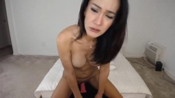 Sexy asian super hot brunette girl with great boobies gets cum